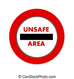 onveilig, gebied, pictogram