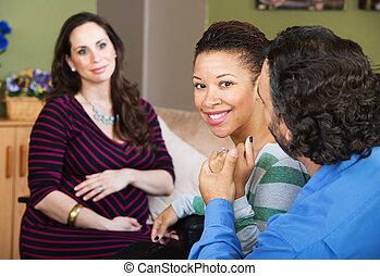 onvruchtbaar, paar, met, surrogate, moeder