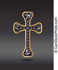 onyx, christen, kruis, goud