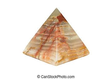 Onyx pyramid, isolated on white - Closeup image of onyx ...