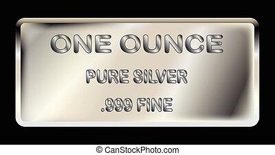 onza, lingote, plata, uno