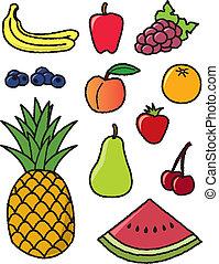 onze, comum, frutas