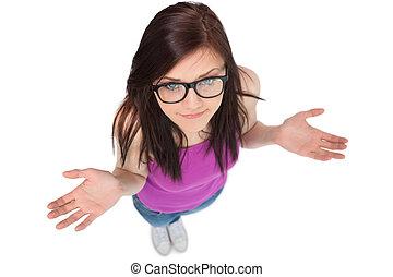 onzeker, het poseren, aanzicht, hoog, bril, brunette, hoek
