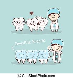 onzichtbaar, schattig, spotprent, bretels, tand