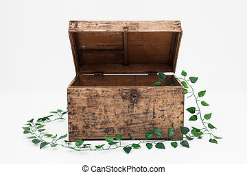 ooden box on a white background
