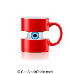 oog, binnen, twee, mok, onderdelen, rood