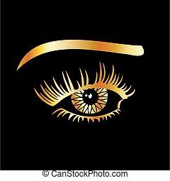 oog, details, gouden, wenkbrauw