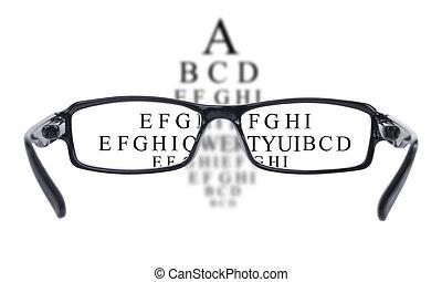 oog, door, gezichtstest, gezien, bril