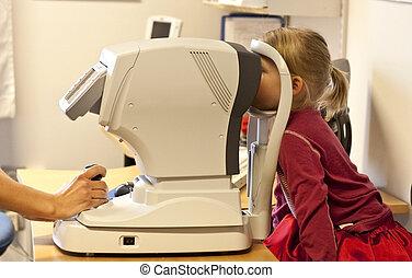 oog examen, boeiend, (4), kind, kleine