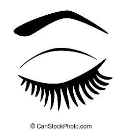 oog gesloten, lang, eyelashes