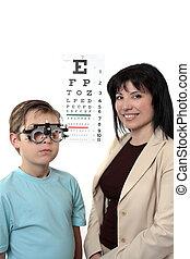 oog, givine, examen, optometstrist