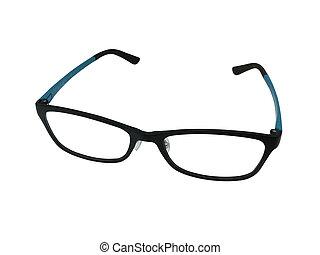 oog, glasses., mode, glasses., vrijstaand, op wit, achtergrond