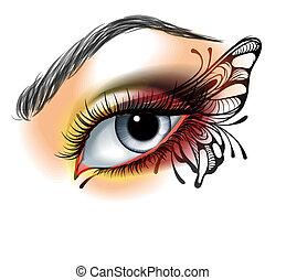 oog grimeren, met, vlinder