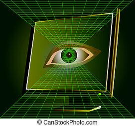oog, horloges, van, monitor, van, de, computer