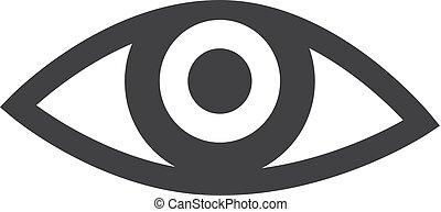 oog, illustratie, achtergrond., vector, black , witte , pictogram