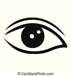 oog, illustratie, vector, zwarte achtergrond, witte
