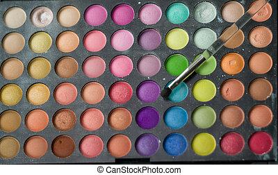 oog, kleurrijke, palet, schaduwen