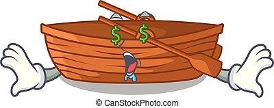 oog, macot, houten, geld, naast, strand, scheepje