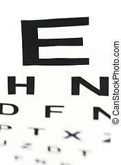 oog, medisch, -, tabel, in het oog krijgen, donzig