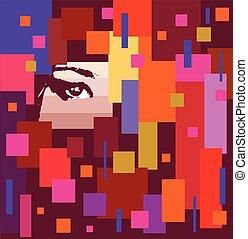oog, pleinen, het verbergen, abstract
