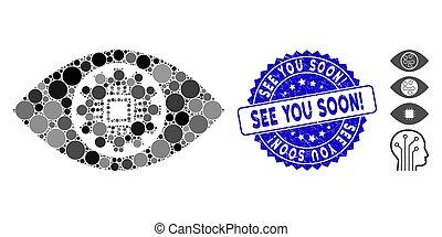 oog, soon!, u, postzegel, robotics, mozaïek, pictogram, lens, textured, zien