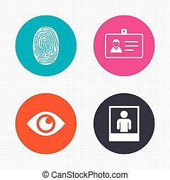 oog, symbool., icons., kaart, badge, identificatie, identiteit