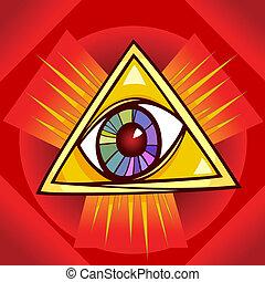 oog, van, voorzienigheid, illustratie