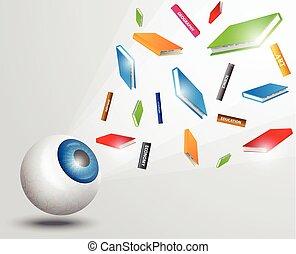oogappel, kleurrijke, boekjes , books., vliegen, idee, concept, opleiding, visie