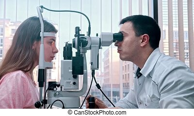 oogheelkunde, jonge, panoramisch, uitrusting, behandeling,...