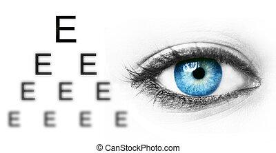 oogmeting, tabel, en blauw, menselijk oog