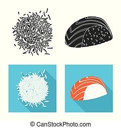 oogst, liggen, icon., het koken, vector, ecologisch, illustration., ontwerp, set