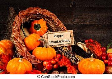 oogsten, cornucopia, met, vrolijke , dankzegging, de markering van de gift