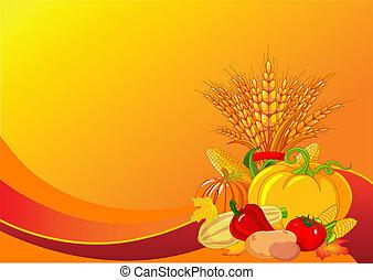 oogsten, dankzegging, achtergrond, /