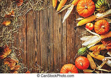 oogsten, of, achtergrond, dankzegging