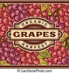 oogsten, retro, druiven, etiket
