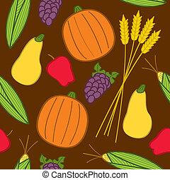 oogsten, seamless, herfst