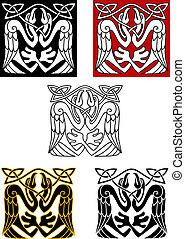 ooievaar, keltisch, ornament, stijl, vogels