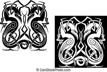 ooievaar, keltische stijl