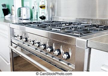 ooker, en, moderno, colorido, cocina