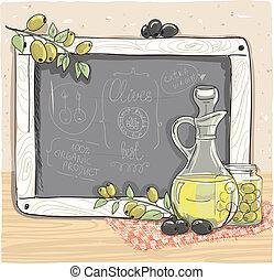 oolives, huile, craie, board., bouteille, olive