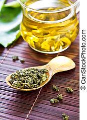 Oolong Tea leaf in wooden spoon