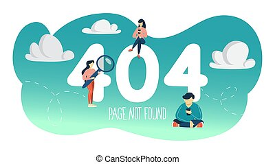 Oops 404 error page not found concept illustration