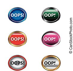 Oops! Button sign set