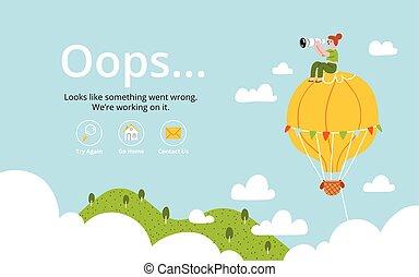 oops, erro, página, com, balão ar quente