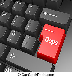 Oops key on computer keyboard