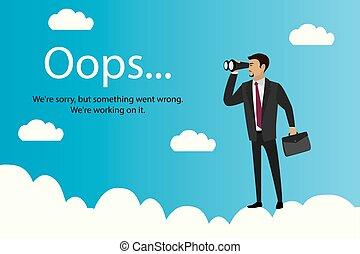 oops, pagina, zakenman, wolken, fout, verrekijker