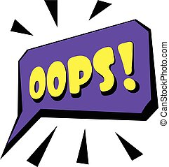 Oops sound effect icon, cartoon style