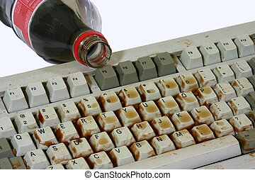 I accidentally spilled a soda, on a computer keyboard.