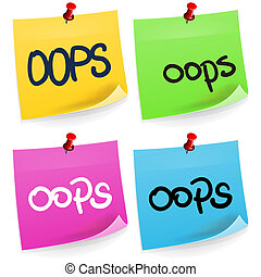 Oops Sticky Note - Error and mistake adhesive note paper on...