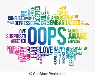 OOPS word cloud collage, social concept background